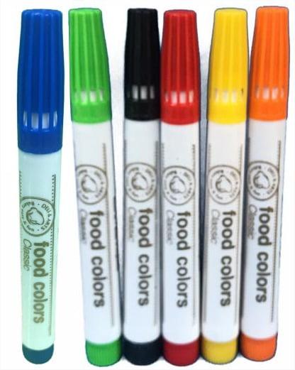 Conjunto de 6 canetas com Tinta 100 % Comestível