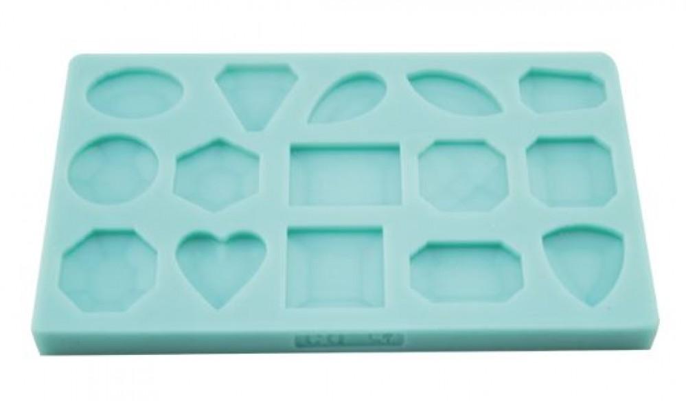 Molde de silicone Em Formato  de Pedras Preciosas. Ideal para utilizar com Pasta Americana.
