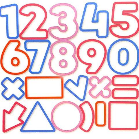 Conjunto de Cortadores de Números e figuras geométricas com 21 peças para BISCOITO