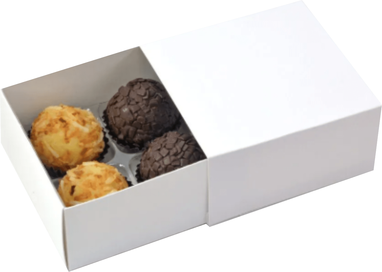 Caixa Deslizante para 4 doces - Branca