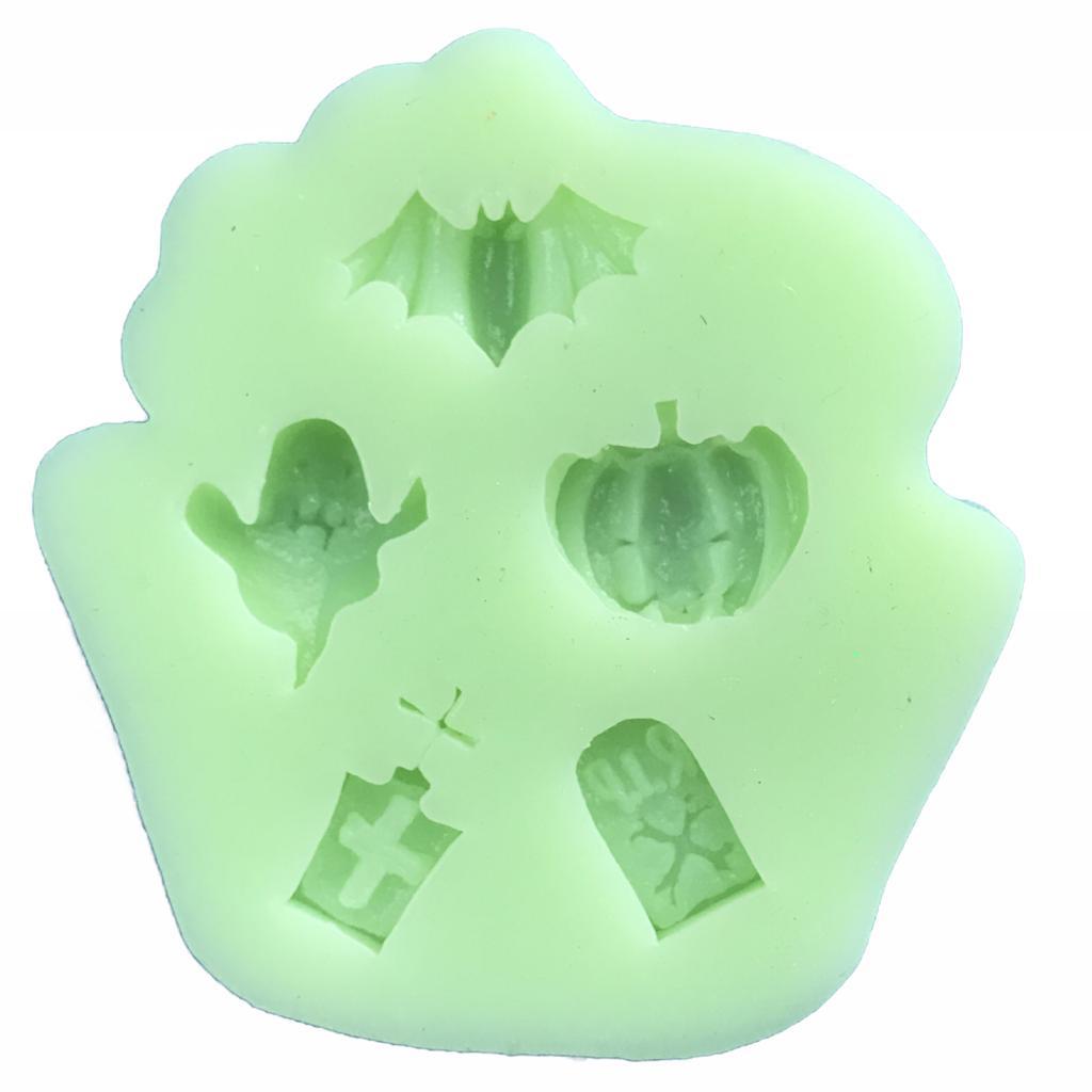 Molde de silicone em formato de halloween(morcego,fantasma).