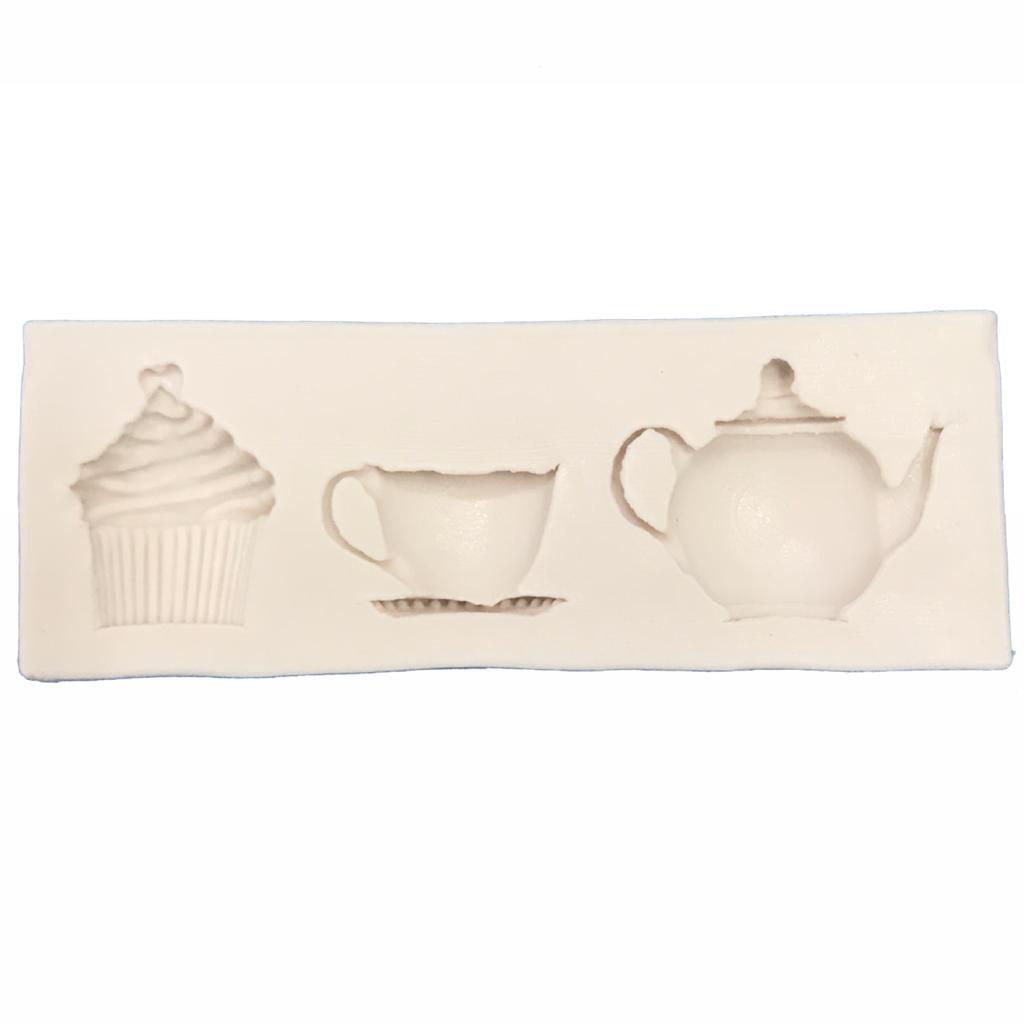 Molde de silicone em formato de Jogo de Chá com cupcake, xícara e bule
