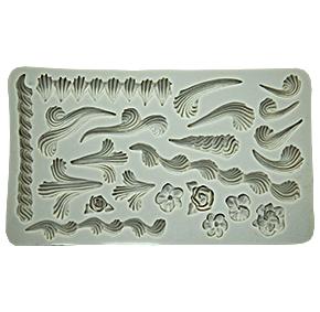 Molde de Silicone em formato de trabalhos de bico arabesco. Ideal para utilizar com Pasta Americana.