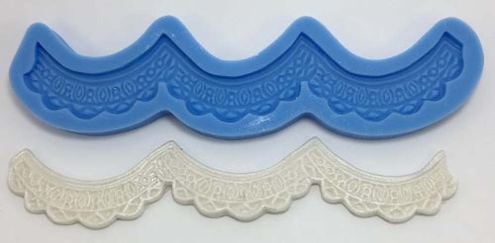 Molde de silicone com forma de babado. Ideal para utilizar com Pasta Americana.