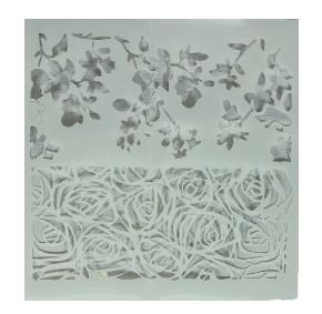 Stencil para Textura em Pasta Americana - Botões de Rosa, Galhos e Folhas PEQUENO