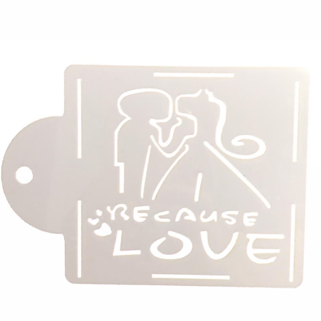 Stencil para Textura em Pasta Americana - Silhueta de Noivos Love