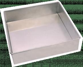 Forma Assadeira quadrada de fundo fixo de alumínio para assar bolos 20cmx8cm