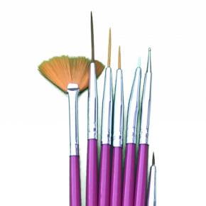 Conjunto de Pincéis Pincel REDONDOS ponta fina  - 7 peças - cores variadas