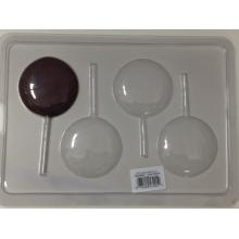 Forma de acetato para chocolate em formato de pirulito pequeno 4 cavidades