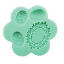 Molde de silicone Em Formato de jóia para Camafeu. Ideal para utilizar com Pasta Americana.
