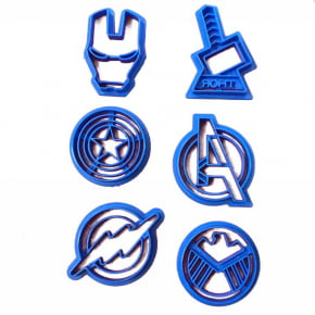 Conjunto de Cortadores Super Herois/Vingadores:Flash,Thor,Capitão América,Arqueiro,Homem de Ferro.