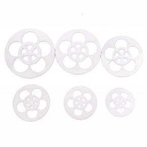 Conjunto de 6 tamanhos de Cortadores de 5 pétalas da Flor Rosa - Prática