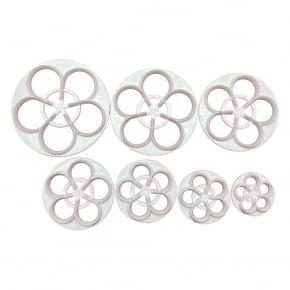Conjunto de 7 tamanhos de Cortadores de 5 pétalas da Flor Rosa - Prática