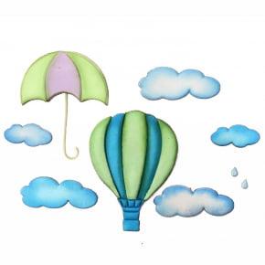 Cortador Patchwork de Balão, nuvem, guarda chuva e chuva
