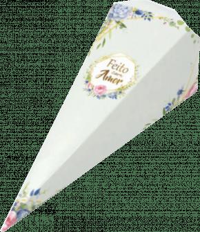 Caixa para Cone Trufado - Floral Verde