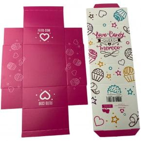 Kit com 5 Caixas personalizadas para 04 doces - Modelo Quero e Mereço