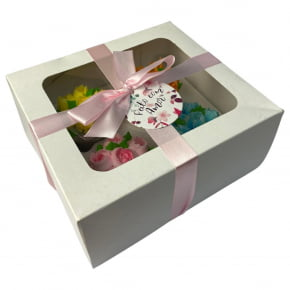 Kit de 2 Caixas Brancas para 04 Cupcakes