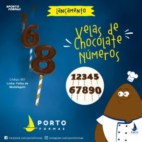 FORMA CHOCOLATE FOLHA DE MODELAGEM VELA DE CHOCOLATE NUMEROS ACETATO NRO.851 COM 12 CAVIDADES