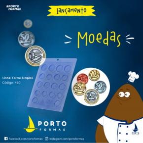 FORMA CHOCOLATE MOEDAS ACETATO  NRO.450 COM 18 CAVIDADES