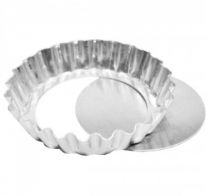 Forma Assadeira Torta Maçã Crespa de fundo falso removível de alumínio 17cmx3cm