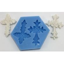 Molde de silicone com Forma de 2 Cruzes Diferentes.