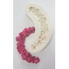 Molde de silicone Com Forma de Guirlanda de Rosas. Ideal para utilizar com Pasta Americana.