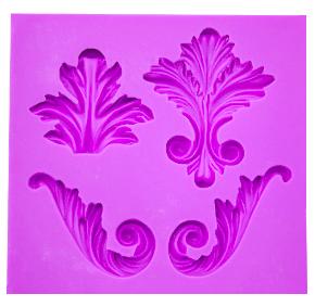 Molde de silicone com Forma de Arabescos de quina. Ideal para utilizar com Pasta Americana.