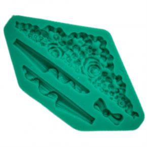 Molde de Silicone em formato de Guirlanda de Flores, Pendentes e Laço