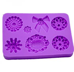 Molde de silicone com forma de jóias e Laço. Ideal para utilizar com Pasta Americana.