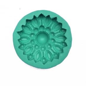 Molde de Silicone em formato de jóias Redonda com Strass com Pérola Central. Ideal para utilizar com Pasta Americana.