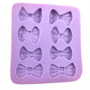 Molde de silicone com forma de Laços com 8 cavidades. Ideal para utilizar com Pasta Americana.