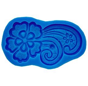 Molde de Silicone com forma de renda Guipir modelo floral em curva. Ideal para utilizar com Pasta Americana.