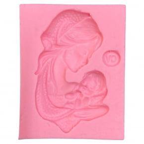 Molde de Silicone em formato da Nossa Senhora e bebê - Batizado