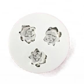 Molde de silicone em formato de 3 Mini rosas iguais para doces