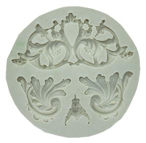Molde de Silicone em formato de Arabesco Rainha. Ideal para utilizar com Pasta Americana.