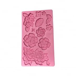 """Molde de silicone em formato de Flores e Folhas estilo """"Brush Embroidery - Bordado com Pincel"""""""