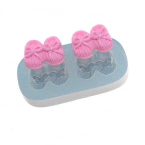 Molde de Silicone em formato de par de Sapatos Pantufas de bebê