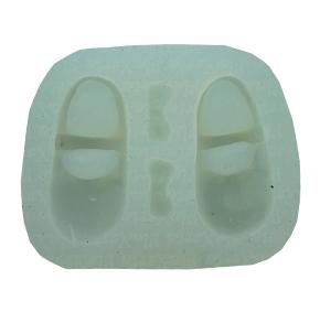 Molde de Silicone em formato de par de Sapato Sapatinho de boneca com 2 cavidades